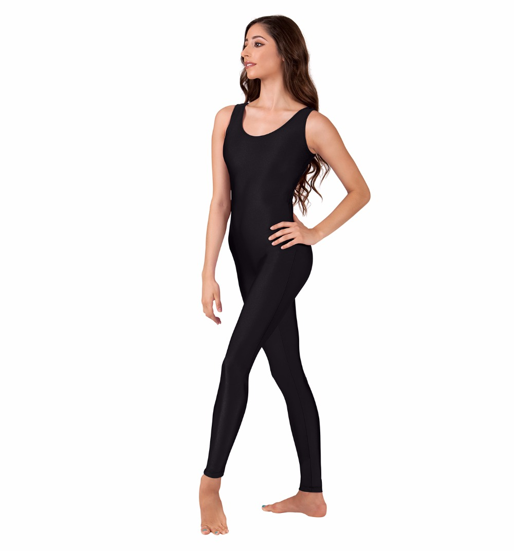 Black spandex dance unitard gymnastics and dancewear - Adult Scoop Neck Nylon Black Tank Unitard For Women Ballet Dance Leotard Gymnastics Spandex Full Bodysuits Catsuits