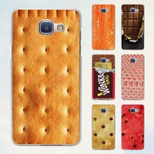 Food Biscuits chocolates meat fish salmon design hard transparent Case for Samsung Galaxy A5 A7 2016 A8 A9 A3 A5 2017