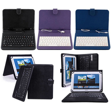 Fashion Faux Leather Case with Mini Micro USB Keyboard for 7/8/10 Inches Tablet