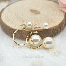 Girl Loved Ear Decorations Wearing Imitation Double Pearl Women Ear Stud Earrings Jewelry Female Earings 2pcs/lot