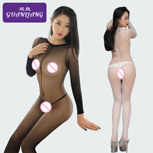 Buy High Collar Mesh Bodysuit Long Sleeve Bodystocking Open Crotch Pantyhose Full Bodystocking Fishnet Bodycon Body Sexy Hot Erotic