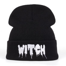 8cd4ab8496d17 Hot New Black Acrylic Embroider Letter WITCH Beanies Hats For Women Men  Unisex Adult Casual Skullies Winter Caps Knitted Gorros