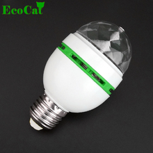 ECO CAT 2017 Christmas E27 LED RGB lampada AC110v 220v bulb Auto Rotating led Stage lights Magic Ball Bulb For Home DJ Party(China)