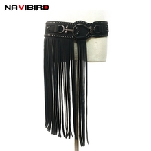 Buy Punk Long Tassel Belts Women Fashion Rivet Wide Hook Buckle Elastic Belt Black Round Buckle Ladies Corset Belt Riem for $12.80 in AliExpress store