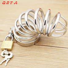Buy QRTA Cock Lock Stainless Steel Lockable Penis Cage Penis Cock Ring Sleeve Male Chastity Device Cage Belt Cockring Sex Toys Men