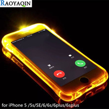 Fashion Case For iPhone 5s 6s 5 6 s Plus Soft TPU Case LED Flash Light Up Remind Incoming Call Cover Case for Coque iPhone 5s