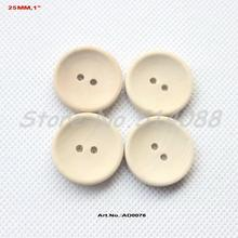 (200pcs/lot) 25mm Unfinished Custom button plain wooden button with your own message or shop name 1 inches-AD0076(China)