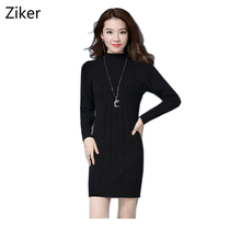New Arrival Women Fall Winter Knitted Dresses 5 Colors Knitting Warm Sheath Plus Size S-3XL Casual Women's Dresses Vestidos(China)