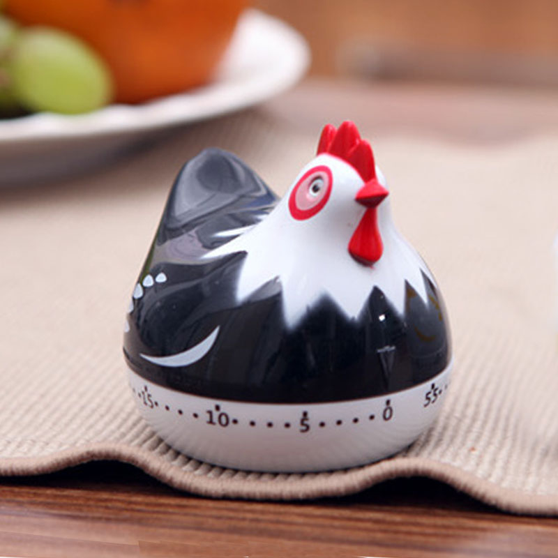 Black White Cute Hen Kitchen Timer Mechanical Countdown Cook Alarm Clock Can Set 1 to 60 minutes reminder(China (Mainland))