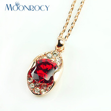 MOONROCY Rose Gold Color Free Shipping Fashion Cubic Zirconia Austrian Yellow Red Crystal Necklace Choker for Women Gift