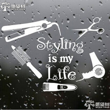 styling is my life wall stickers home decor home decoration Barber Shop Showcase sticker Hairdressing decorative  sticker g1