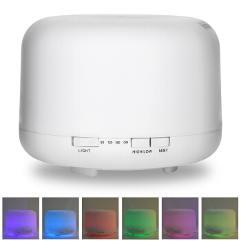 500ml Ultrasonic Essential Oil  Aroma Humidifier With Color Light  Round White PP Shell Electic Aroma Diffuser Air Purifier<br>