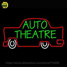 Neon Sign Auto Theatre Car Logo Neon Light Sign Bulb handmade Glass Tube Display Personalized Lamp Light Signs Warrant 37x20(China)