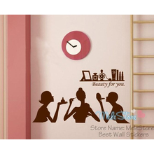 Home Decor Stickers Beauty Salon Shop Fashion Girls Sticker Showcase Window Nail Art Make Up Decoration Applique Cosmetics