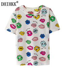 Buy DHIHKK 2017 New Fashion Vintage Summer Style Harajuku T Shirt Women Clothes Tops Emoji Funny Tee Shirts Color lip Print for $5.99 in AliExpress store