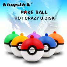 Silicone  Pokemon Go Model USB Flash Drive 4GB 8GB 16GB Pocket Monster Poke Ball Pen Drive 32GB 64gb Fashion pendrive