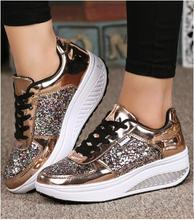 Hot!! Cool Gold Sequined Spring/Autumn Women Casual Shoes Sport Fashion Walking Shoes Swing Wedges Shoes Woman Free Shipping