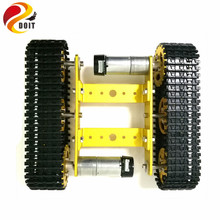 DOIT Metal tank model robot tracked car chassis diy track teaching crawler/caterpillar platform compatible with arduino uno r3(China)