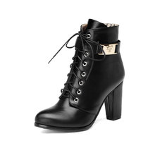 Lace Up Zipper PU Leather Square High Heel Woman PU leather Ankle Boots Women Shoes Ladies Motorcycle Boot Size 34-43