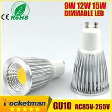 Super Bright GU10 Bulbs Light Dimmable Led Warm/White 85-265V 9W 12W 15W LED GU10 COB LED lamp light GU 10 led Spotlight z90(China)