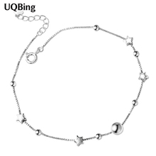 Free Shipping Women 925 Sterling Silver Anklets Allergy Free Moon Star Anklets de cheville Tornozeleiras(China)