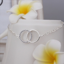 Wholesale Free Shipping silver plated Anklets,silver plated Fashion Jewelry Insets Double Circle Anklets SMTA005