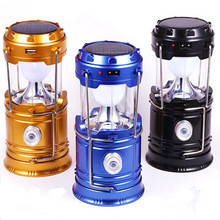 Vintage Solar Panel Lights Outdoor LED Camping Lantern USB Charging+Solar Power Portable LED Flashlight Lamp Light for Climbing