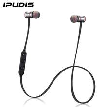 IPUDIS Magnet Metal Sports Bluetooth Earphone Wireless Earbud Stereo Headset With Mic(China)