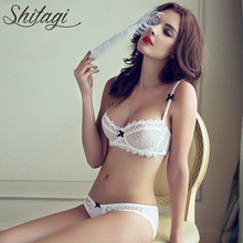 Shitagi Sexy Lace Bra And Panty Set Ultra-Thin Transparent Underwear Women Set Plus Size Lingerie Set Push Up Intimates 1/2 Cup