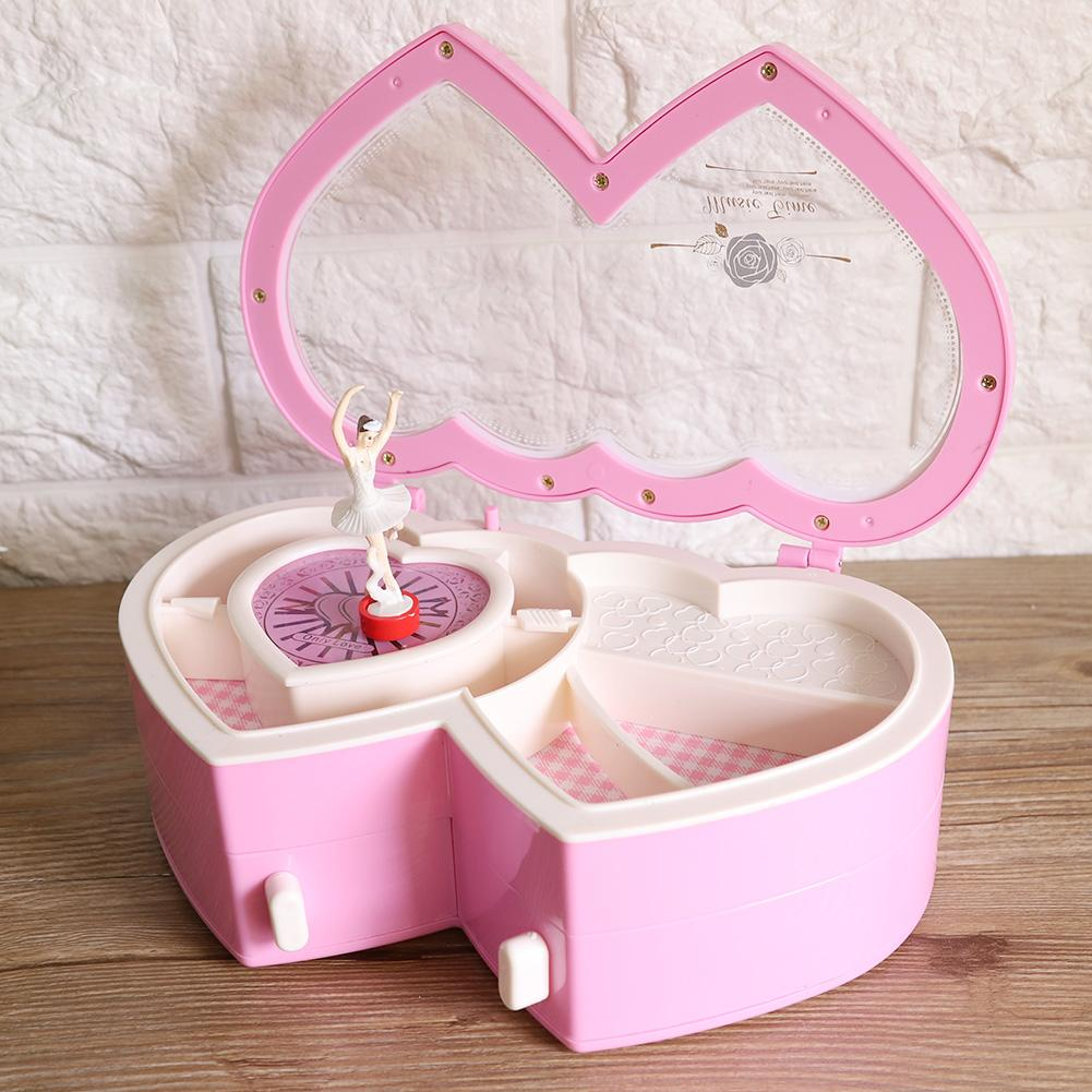 Double Heart Ballerina Musical Jewelry Box Storage Case for Little Girls Pink Kids Musical Box