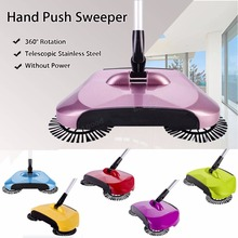 Magic Sweeper Hand Push Sweeper Spinning Broom Sweeping Hand Push Mop Magic Spin Broom Cleaner Stainless Steel Swab(China)