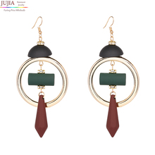 JUJIA 2017 New good quality fashion statement wood bead stud Earrings for women fashion earring Factory wholesale women jewelry(China)