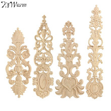 KiWarm Unpainted Wood Oak Carved Wave Flower Onlay Decal Corner Applique for Home Furniture Door Decor Decorative Crafts 4 Type