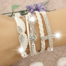 2017 New Fashion Jewelry Accessories Elegant Friendship Crystal Cross Infinity Wings PU Leather Charm Bracelet Bangle For Women(China)
