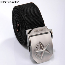 CNRUBR Quality Solid Mens Belts Luxury Brand Canvas Army Tactical Belt Star Automatic Buckle Military Girdle Men Pants Straps