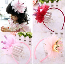 2017 NEW Chiffon Princess Crown Tulle Girls Baby Kids Fancy Headband Hairband