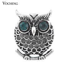 4 Colors Vocheng Snap Charms 18mm Vintage Button Owl Metal Jewelry Vn-900 Free Shipping