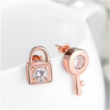 Rose Color Stud Earrings Trendy Key And Lock Fashion Jewelry Rectangle arrings For Women Eh121