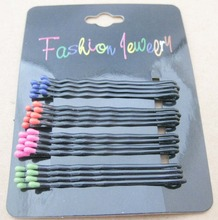 60mm Black hair pins 16pcs/card Colorful ends dots decorative hair accessory for women/girls hair