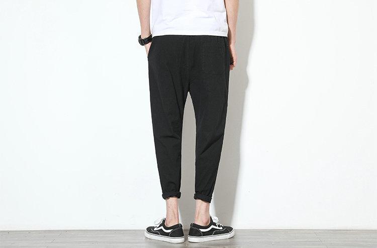 Cotton Linen Joggers Black Men's Harem Pants 4