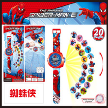 1PCS Newest Funny Electric Children Toys Cartoon Hello Kitty Watch Spiderman Figures 20 Images LED Digital Watch Puzzle Toys