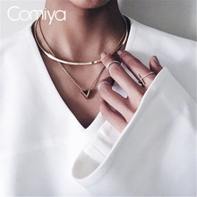 Comiya Brand Chokers Necklace Pendants Punk Stylish Black Triangle Decoration Collares Mujer Gold Color European Aliexpress(China)