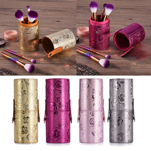 New Empty Portable Travel PU Leather Cosmetic Brushes Pen Holder Storage Makeup Brush Container Round Pen Holder Cosmetic Tools(China)