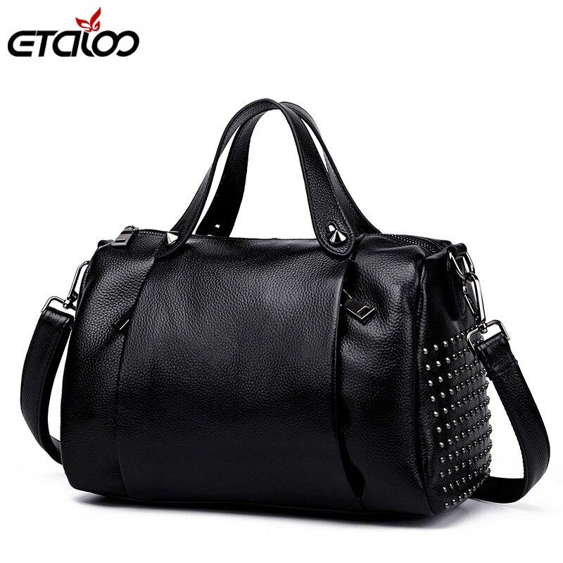 2017 spring new leather handbags Europe wind rivets leather pillow bag shoulder portable Messenger bag<br>
