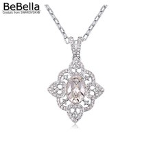 BeBella 2016 Classic flower shape style Rhodium Plated necklace for woman made with Crystals from Swarovski for women's gift