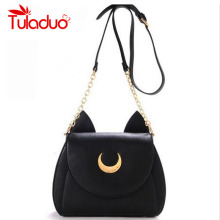 2017 New Summer Limited Sailor Moon Chain Shoulder Bag Ladies Luna Cat PU Leather Handbag Women Messenger Crossbody Small Bag