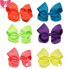 "12PCS/LOT 5"" Neon Color Hair Bows Boutique Solid Grosgrain Ribbon Bow Children Hair Bow With Clips For Girls Hair Accessories"