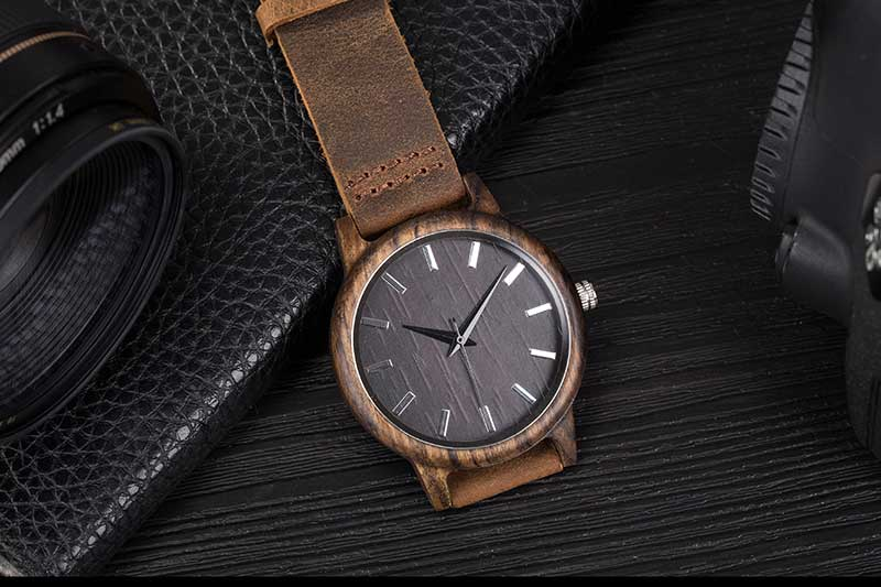 17Men's Clock Black Vintage Saat Wooden Watches With Real Leather Band Design Man Top Brand Quartz Watches Round With Gift Box 11