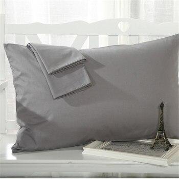 Gray Pillow Case Rectangle Solid Color Bedclothes 100% Cotton Soft Decorative Pillow Covers 48cmx74cm 2pcs