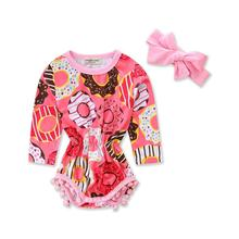 Infant Baby Girl Bodysuits 2017 New Summer Printed Ball Cute Dount Clothing Headdress Children Bodysuits Girls Costume 4bt094(China)